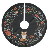 Woodland Wreath Christmas Tree Skirt Black