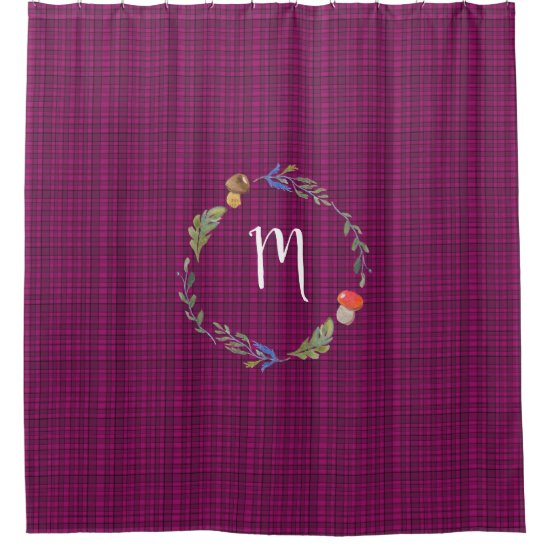 Woodland Wreath Monogram Pink Blue Tartan Shower Curtain