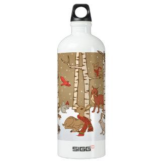 Woodlands Christmas Aluminum Water Bottle
