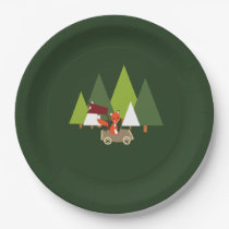 Woodlands forest fox party baby shower plates