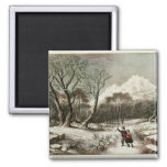 Woodlands in Winter 2 Inch Square Magnet