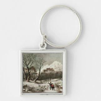 Woodlands in Winter Keychain