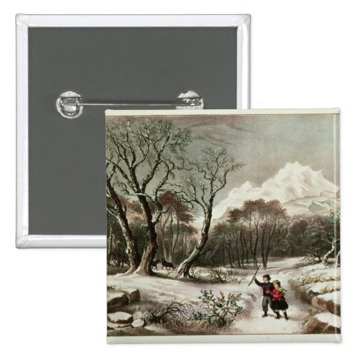 Woodlands in Winter Pinback Button