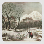 Woodlands in Winter Square Sticker