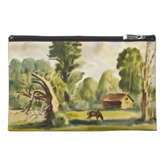Woodman's House watercolor painting Travel Accessory Bags