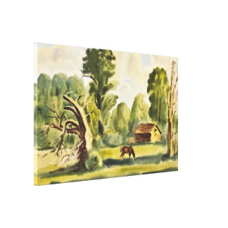 Woodman's House watercolor painting Stretched Canvas Print