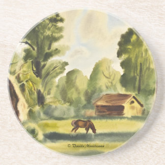 Woodman's House watercolor painting Drink Coaster