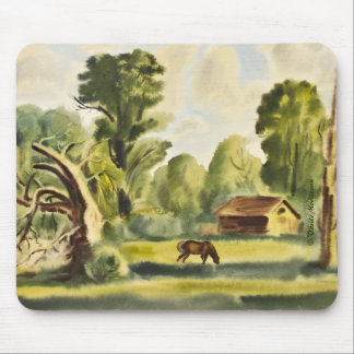 Woodman's House watercolor painting Mouse Pad