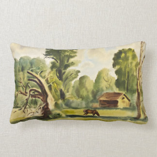 Woodman's House watercolor painting Throw Pillows