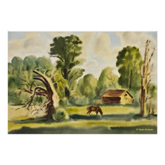 Woodman's House watercolor painting Poster