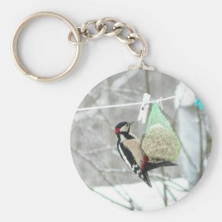 Woodpecker Animal Basic Round Button Keychain