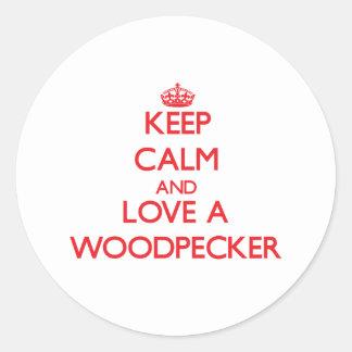 Woodpecker Classic Round Sticker