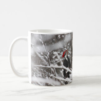 Woodpecker In Winter Classic White Coffee Mug