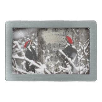 Woodpecker In Winter Rectangular Belt Buckle