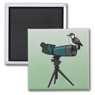 Woodpecker on Spotting Scope 2 Inch Square Magnet