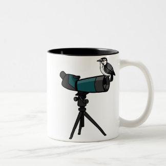 Woodpecker on Spotting Scope Two-Tone Coffee Mug