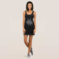 Woodpecker Pattern Stripes on Black & White Sleeveless Dress