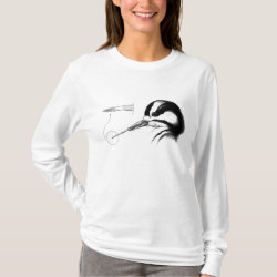 Women's Basic Long Sleeve T-Shirt with Woodpecker Tongue Anatomy design