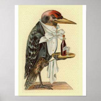 Woodpecker Waiter Vintage Bird Illustration Print