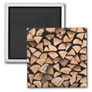Woodpile background 2 inch square magnet