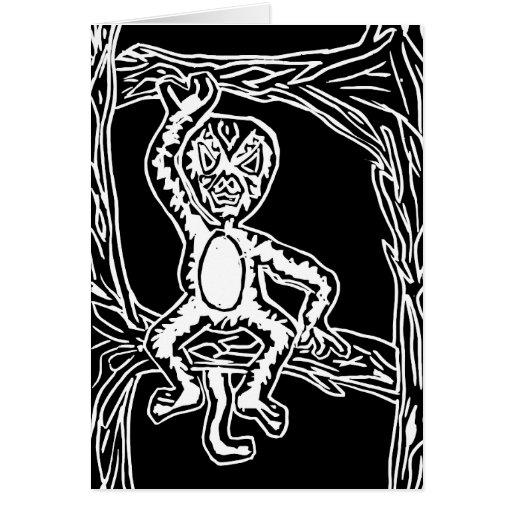 woodprint del mono tarjetas