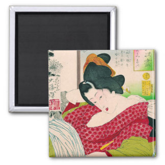 Woodprint japonés oriental fresco del arte de la s imán cuadrado