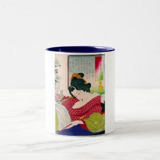 Woodprint japonés oriental fresco del arte de la taza dos tonos