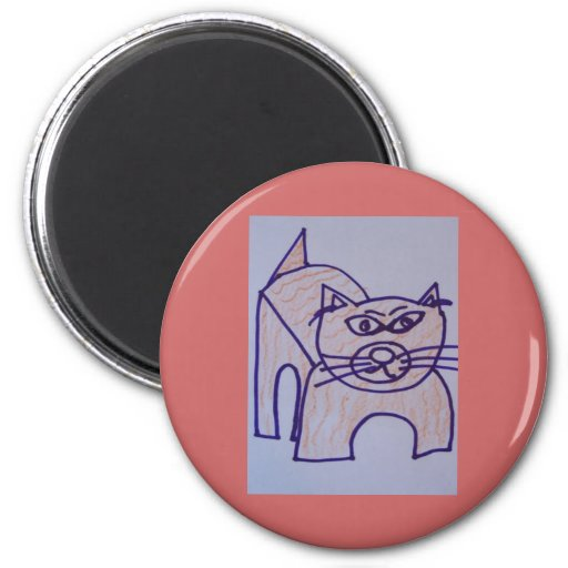 woodrow cat 2 inch round magnet
