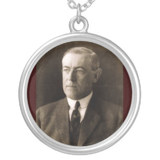 Woodrow Wilson 28th President Silver Plated Necklace
