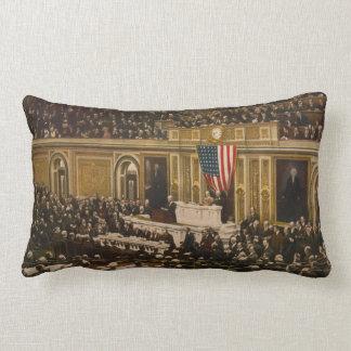 Woodrow Wilson asking Congress to Declare War Pillow