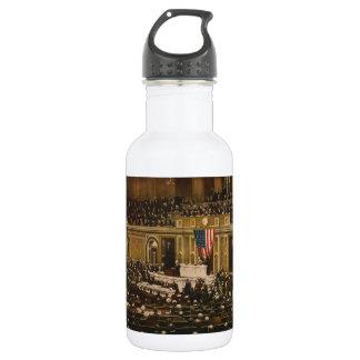 Woodrow Wilson asking Congress to Declare War Water Bottle