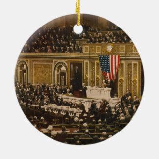 Woodrow Wilson que pide que el congreso declare Adorno Redondo De Cerámica