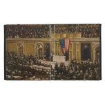 Woodrow Wilson que pide que el congreso declare gu