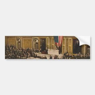 Woodrow Wilson que pide que el congreso declare gu Etiqueta De Parachoque