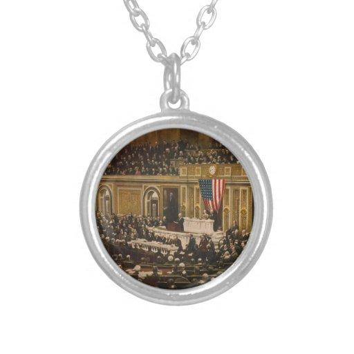 Woodrow Wilson que pide que el congreso declare gu Grimpola