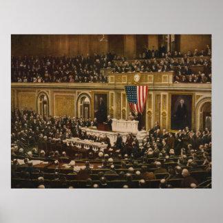 Woodrow Wilson que pide que el congreso declare gu Posters