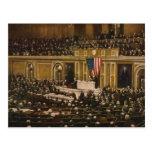 Woodrow Wilson que pide que el congreso declare gu Postales