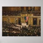 Woodrow Wilson que pide que el congreso declare Póster