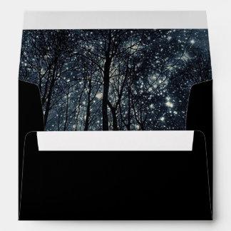 Woods Dark Night Glittering Stars Blue Sky Custom Envelope