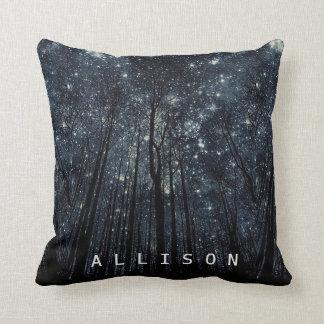 Woods Dark Night Glittering Stars Blue Sky Custom Throw Pillow