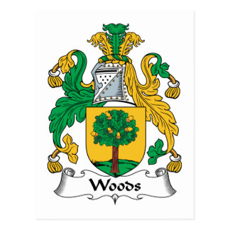 Woods Family Crest Postcard