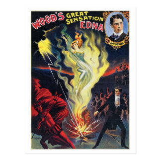 Wood's ~ Sensation Edna  Vintage Magic Act Postcard