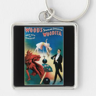 Wood's Startling Sensation Vintage Magician Silver-Colored Square Keychain