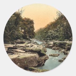 Woods, the Strid, Bolton, England classic Photochr Round Sticker