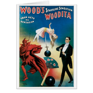 Wood's ~ Woodita Magician Vintage Magic Act Card