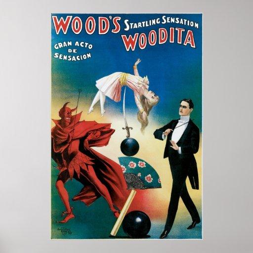 Wood's ~ Woodita Magician Vintage Magic Act Poster