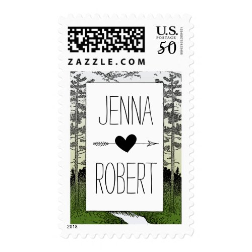 Woods Woodland Forest Trees Mountain Wedding Postage