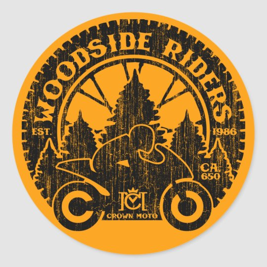 Woodside Riders (vintage black) Classic Round Sticker