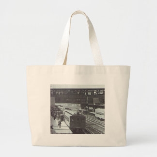 Woodside Station with Trains Long Island Railroad Large Tote Bag