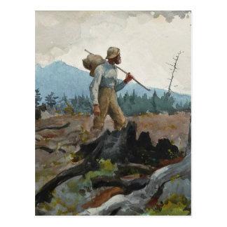Woodsman de la guía de la acuarela del vintage de postal
